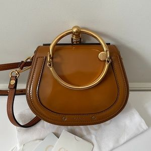 Chloé Patent Suede Leather Small Nile Bag caramel